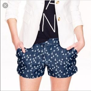 J. Crew Scallop pocket shorts with sailboats